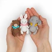 мк крючком мишка+зайка+слон