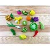 Набор из 15 мини овощей и фруктов, МК по вязанию