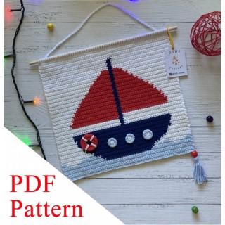 Boat PDF pattern, crochet