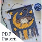 Monkey sleeping PDF pattern, crochet