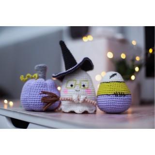 Декор к Хэллоуину : привидение, тыква и конфетка