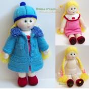Вязаная кукла с комплектом одежды