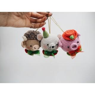 Елочные шары №3 (мышка, свинка и бычок)