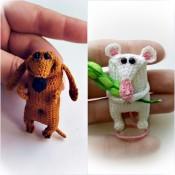 Комплект: броши Мышь и Такса