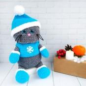 Плюшевый Котик в Новогоднем костюме